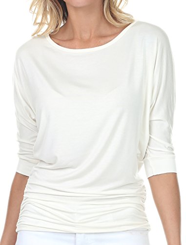 coul J WT208 Women's Boat Neck 3/4 Sleeve Dolman Side Shirring Drape Oversized Loose Fit Tunic Top - Off White/Size: XXX-Large -