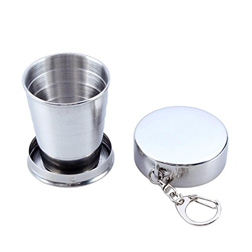Mychampion Stainless Steel Telescopic Collapsible Shot Glass Cup With Key Ring(75ml) (Stainless Steel Shot Glass compare prices)