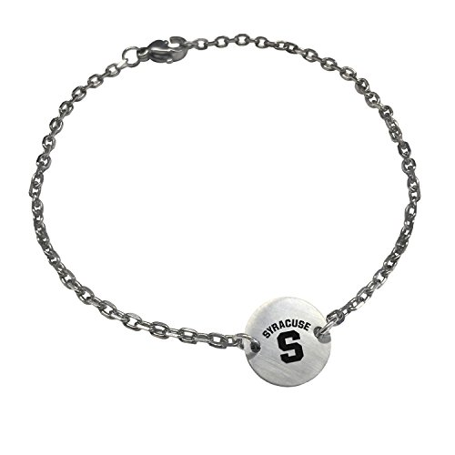 Syracuse Orange Stainless Steel Link Bracelet with Round Charm (7.5in, School & Grad Cap) by College Jewelry