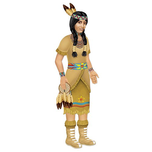 Beistle 1-Pack Decorative Indian Princess Jointed Figure, 3-Feet 2-Inch -