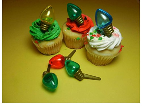 12 Christmas Light Bulb Picks Cupcake Toppers Cake Decorations from Unknown
