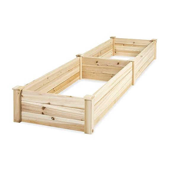 Best Choice Products Vegetable Raised Garden Bed Patio Backyard Grow Flowers Elevated Planter 2 8' x 2' garden bed is perfect for growing your plants and vegetables Comes with a divider in the middle so you can separate it into 2 garden bed boxes Boards are made of 0.5 inch thick solid wood that is built to last through the seasons