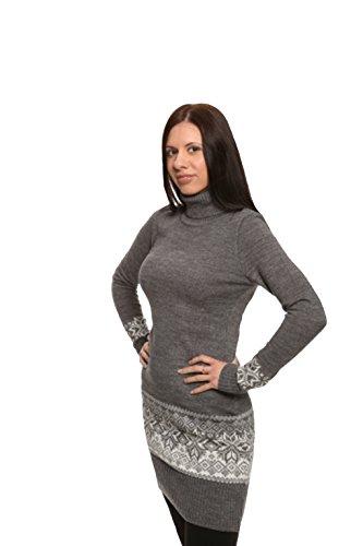 Exklusives Langarm Rollkragen Strickkleid verschiedenen in aus Grau mit 100 Farben Wolle BBdqr