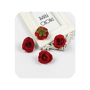 Artificial Flowers 30 Pcs 4Cm Silk Rose Artificial Flower Wedding Home Furnishings DIY Garland Leaves Crafts Simulation Fake Flowers,6 7