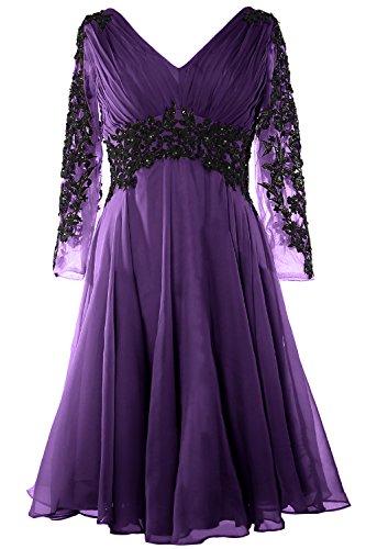 Gown Evening MACloth Mother of Gormal Gorgeous V Dress Long Violett Sleeve Neck Bride PaHZw