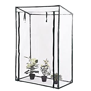 "Globe House Products GHP Outdoor 40.0"" Wx20.0 Dx59.0/53.0"" H Heavy Duty Plant Greenhouse with PVC Cover"