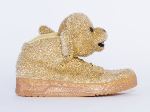 Jeremy Scott Bear (Unisex Sizes) in Supplicol/LGTOLDGOL (Gold) by Adidas Gold Glitter