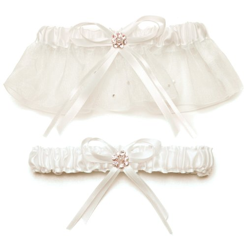 Weddingstar Scattered Pearls and Crystals Two Piece Bridal Garter Set, Ivory