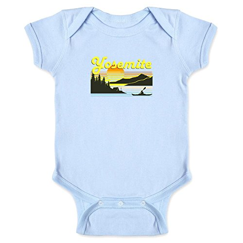 Pop Threads Yosemite Retro Travel Light Blue 6M Infant Bodysuit (6 Light Canoe)