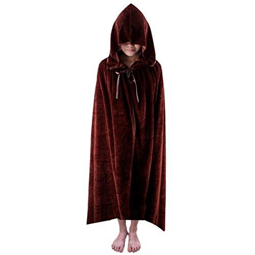 [Samtree Christmas Halloween Costumes Cape for Kids,Velvet Hooded Cosplay Party Cloak] (Cape Velvet Child Costumes)