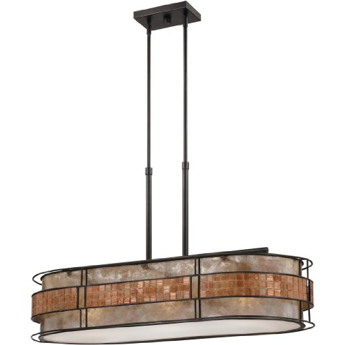 Chandelier Style Tiffany Island - Quoizel MCLG337RC Laguna Mica Island Chandelier, 3-Light, 300 Watts, Renaissance Copper (21