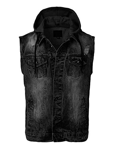 URBANCREWS Mens Hipster Button-Down Denim Hooded Vest Jacket Black -XL