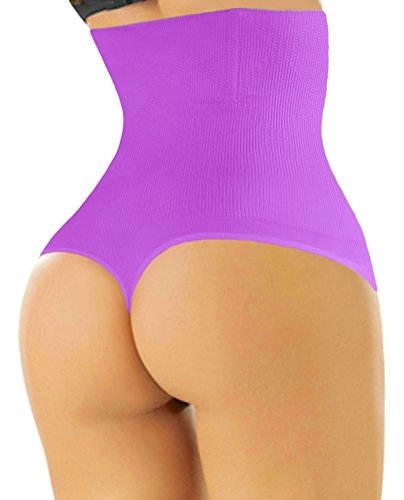 ShaperQueen 102 Best Womens Waist Cincher Body Shaper Trimmer Trainer Slimmer Girdle Faja Bodysuit Short Diet Tummy Belly Control Brief Slip Corset Plus Size Underwear Shapewear Thong (S, Dark Purple)
