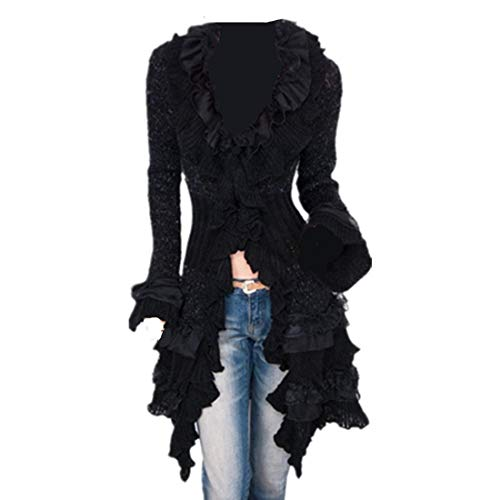 LY-VV Womens Victorian Cardigan Gothic Steampunk Slim Fit Lace Cardigan Black -