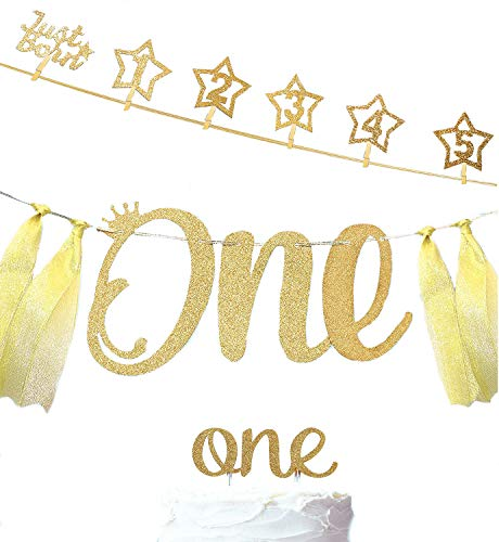 1st Birthday Gold Glitter Decoration Set Includes Newborn 12 Months Photo Banners, Birthday Banner, Cupcake Topper for 1 Year Birthday Celebration