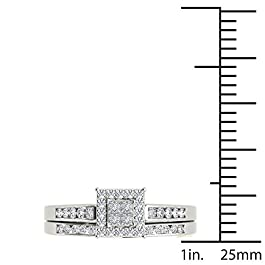 IGI Certified Sterling Silver 1/2ct TDW Diamond Cluster Bridal Set