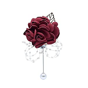 Abbie Home Classic Boutonnière for Prom Party Wedding Ball Event Blooming Rose Rhinestone Pearl Decent Brooch Pin for Suit Dress (Burgundy) 44