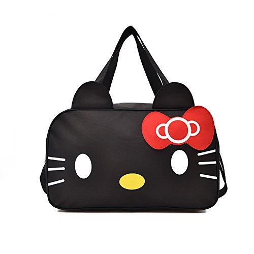 YOURNELO Women's Cartoon Hello Kitty Large Handbag Shoulder Tote Shopping Travel Bag Luggage Bag (Black) -
