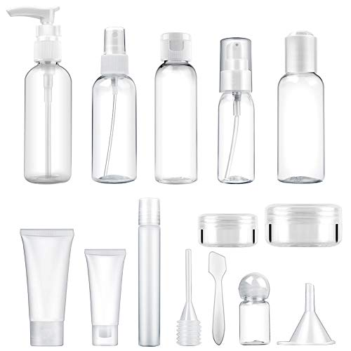 14 Pcs Empty Travel Bottle Toiletry Set (Max. 100ml) Leak Proof | Plastic Travel Size Refillable Containers for Liquid Shampoo, Lotion, Cream, Dispenser Accessories Kit TSA Airplane (Clear, BPA Free) ()