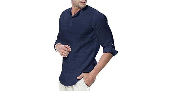ouxiuli Mens Beach Button Down Cotton Linen Shirts Loose Casual Shirt Tops