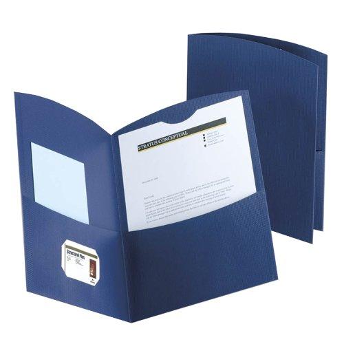 Oxford 50625-23 Contour Two Pocket Portfolios, Dark Blue, 25
