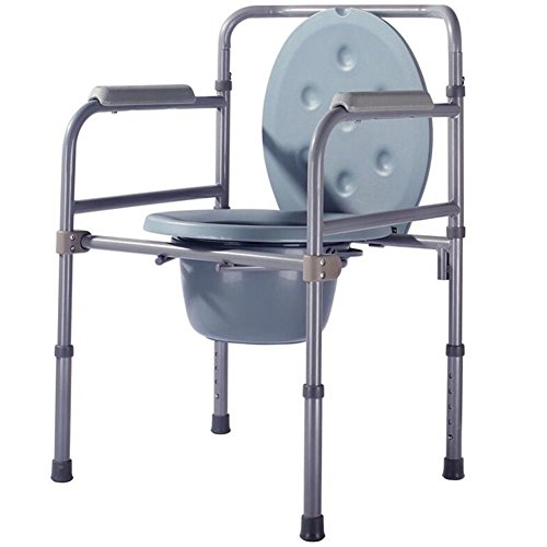Folding Commode Lightweight Aluminium Bathroom Toilet Seat Seat Belt Wheel / Disability ? with top loading easily removable pot Elderly Mobility Aid Commode Chair by HYHAN