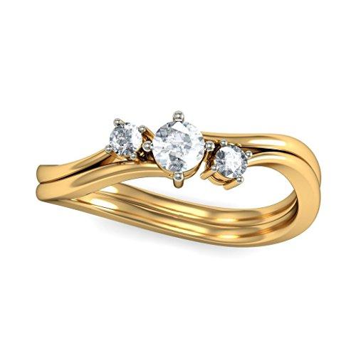 14K jaune Or, 0,26carat Diamant Blanc (IJ | SI) en diamant