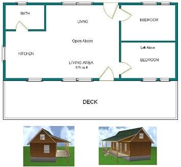 16×36 Cabin w 2 Loft Plans Package, Blueprints, Material List