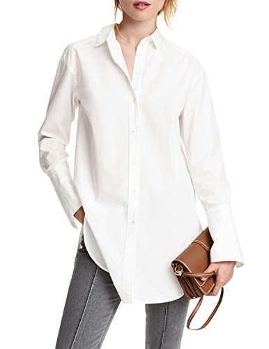 hodoyi Women Boyfriend Buttons Down Plain High Low Lapel Shirt Dress