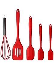 Zestaw silikonowych przyborów kuchennych, 5 szt. czerwone odporne na wysoką temperaturę ergonomiczne szpatułki do pieczenia, mieszania łyżek, szczotka do smażenia, trzepaczka, gumowa szpatułka nieprzywierająca, nadaje się do mycia w zmywarce