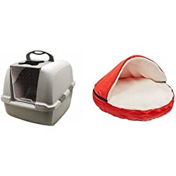 "Catit Jumbo Hooded Cat Litter Pan - Warm Gray and Sofantex Plush Pet Bed Cave for Cats and Small to Medium Size Dogs and Cats, Red, 25"" Bundle"
