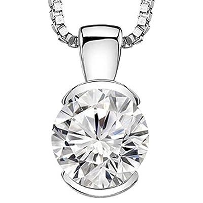 1.97 Carat GIA Certified Round Diamond Half Bezel Solitaire Pendant Necklace G Color VVS2 Clarity