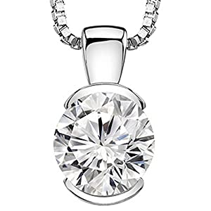 "0.5 Carat Round Diamond Half Bezel Solitaire Pendant Necklace H I Color I2 Clarity, w/ 16"" Silver Chain"