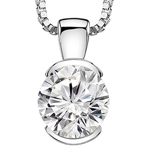 1 Carat 14K White Gold Round Diamond Solitaire Pendant Necklace Half Bezel K-L Color I2 Clarity - Brilliant Diamond Necklace Pendant