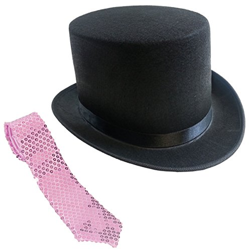 [Black Felt Top Hat - Magician Top Hats with Necktie by Funny Party Hats] (Pink Top Hats)