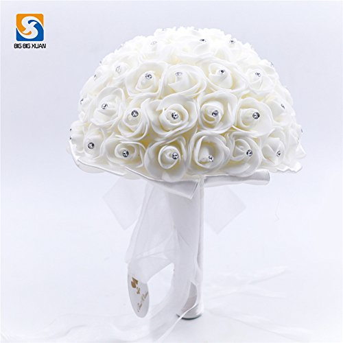Wedding Bouquet Romantic Bridal With Sparkling Diamonds And Soft Ribbon Artificial Rose Flowers For Home DecorWhite