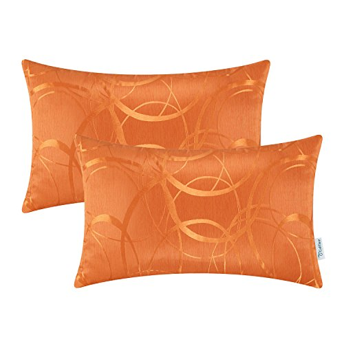 CaliTime Pack of 2 Cushion Covers Bolster Pillow Cases Shells for Couch Sofa Home Decor Modern Shining & Dull Contrast Circles Rings Geometric 12 X 20 Inches Bright Orange (Pillow Bolster Orange)