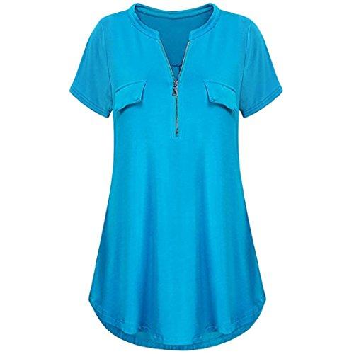 DIANA'S Tops Women Summer Solid V Neck Sleeve T Shirt Blouse ()
