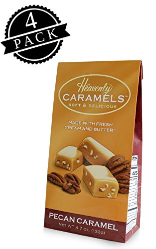 J Morgan Confections Heavenly Caramels, Butter Pecan Flavor (4.7 oz bag, 4-Pack); Gourmet, Artisan Soft and Chewy Butter Caramel Candies, Creamy and Smooth, Hand-Crafted Golden Treats
