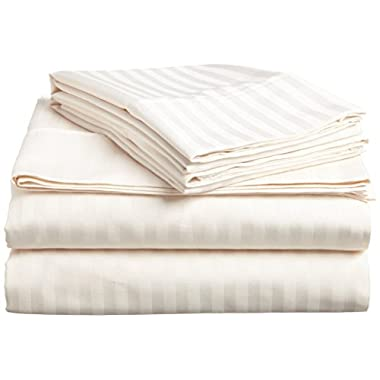 Flyingcart Luxury Hotel 520-Thread-Count 100% Egyptian Cotton Queen 6 Piece Sheet Set Striped With 14  Deep Fitted Sheet Pocket, Ivory