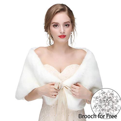 FDesigner Leiothrix Women's 1920s Faux Fur Shawl with Velvet Ribbon Bridal Wedding Fur Wraps and Shawls Faux Mink Shawl for Women and Girls (White) -