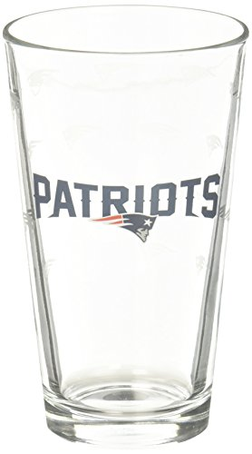 NFL New England Patriots Pint GlassSatin Etch 2 Pack, Clear, One Size ()