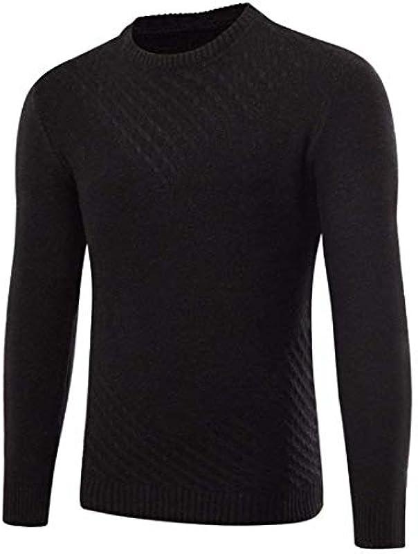 Autumn and Winter Men's Sweater Elegant Langarm Stricktop Pullover Mode Classic Normallacks Langarm Sweater Strickpullover Chłopcy: Odzież