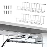 2 Packs Cable Management Tray, 16 inches Under Desk Cable Organizer for Wire Management, Metal Wire Cable Tray for Desks, Offices, and Kitchens