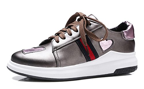 Aisun Womens Casual Heart Round Toe Thick Sole Platform Lace Up Sneakers Skateboard Shoes Gun