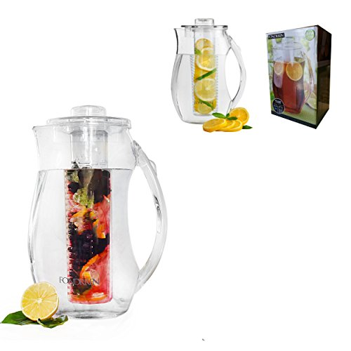 Fondrren Fruit Infuser Pitcher With Free Ice Core | Best for Making flavored Fruit Infusion Water , Tea and More | Clear Acrylic BPA Free Plastic Large 93 Oz (Frozen Water Pitcher compare prices)