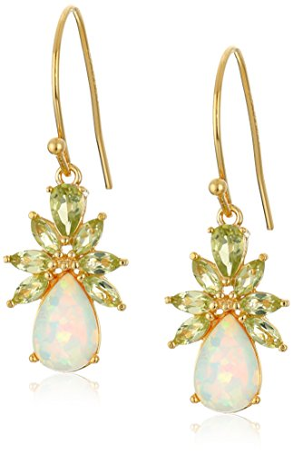 18k Yellow Gold Plated Sterling Silver Pear Shaped Created Opal 9x6mm and Peridot Dangle Wire Drop Earrings