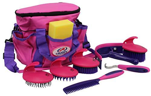 Derby Premium Comfort 9 Item Horse Grooming Kit (Purple/Pink)