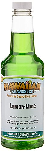 Lime Syrup - Hawaiian Shaved Ice Lemon-Lime Snow Cone Syrup, 1 Pint