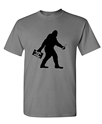 SASQUATCH BIGFOOT WITH BEER funny party - Mens Cotton Tee, XL, Charcoal (Bigfoot Products)